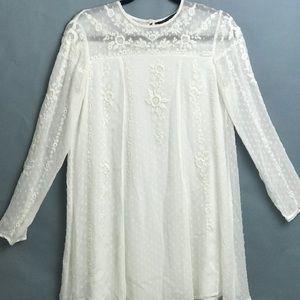 White Zara Woman Embroidered Mini Dress